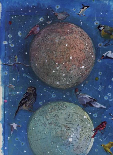 Atlas céleste gauche - Peinture sur atlas