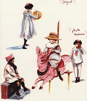 Trois soeurs - carnet de dessins croquis