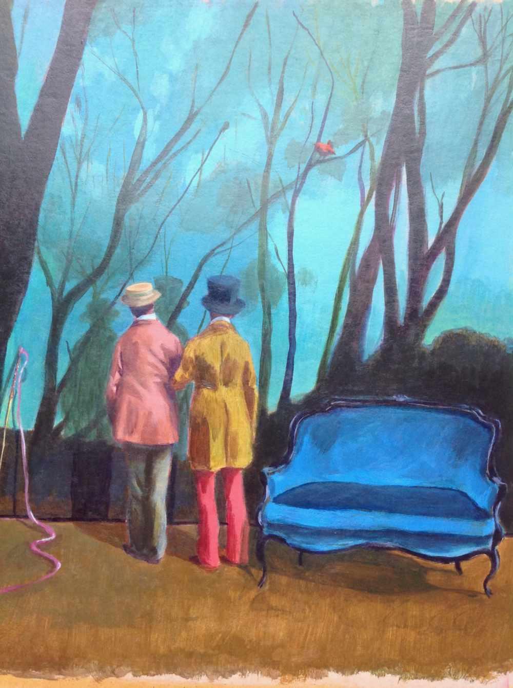 Deux hommes devant le décor